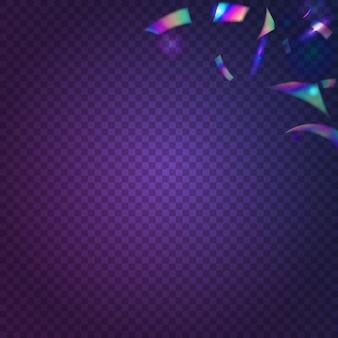 네온 색종이 조각. 가벼운 질감. 글래머 아트. 홀로그램 글레어. 블루 레트로 효과입니다. 디스코 플라이어. 피에스타 포일. 빛나는 크리스마스 템플릿입니다. 핑크 네온 색종이