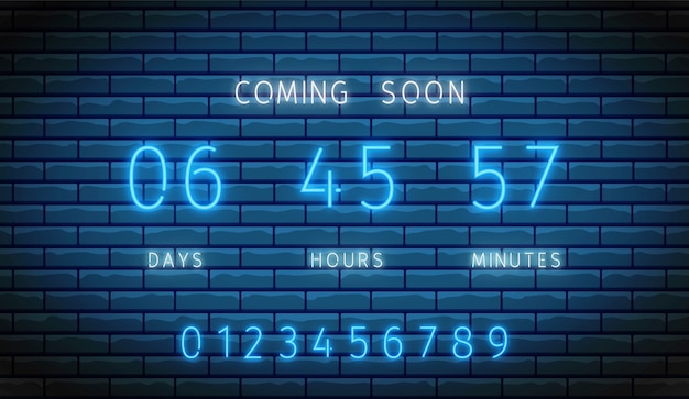Neon countdown timer. clock counter.  illustration. glowing scoreboard on brick wall.
