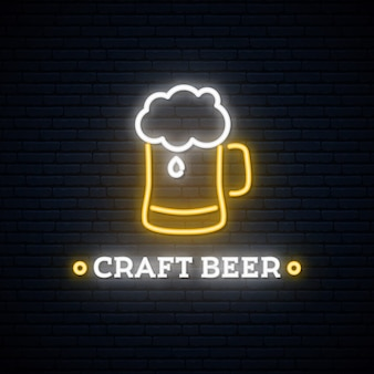 Neon craft beer signboard.
