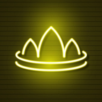 Neon crown on brick wall logo for web design. vector illustration