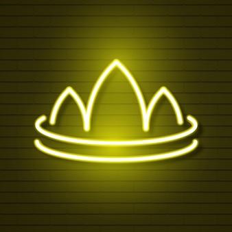 ウェブデザインのためのレンガの壁のロゴのネオンクラウン。ベクトルイラスト