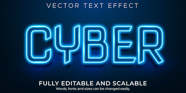 Neon cyber editable text effect, shiny and glow text style