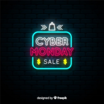 Neon cyber monday banner