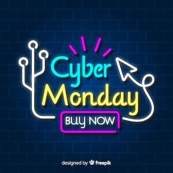 Neon cyber monday banner