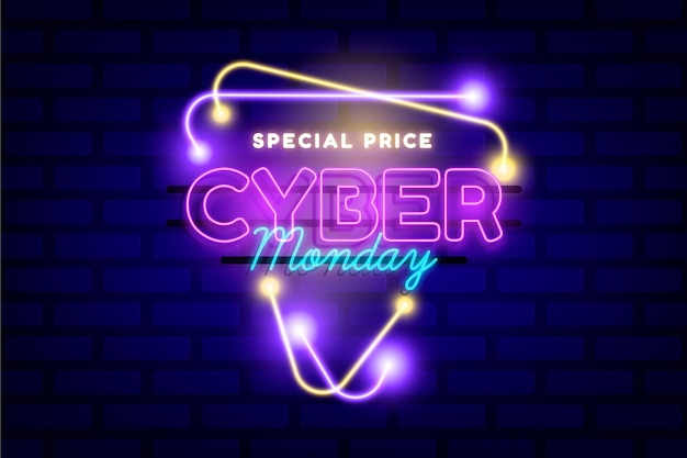 Neon cyber monday concept