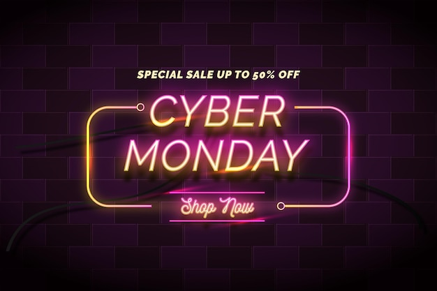 Neon cyber monday concept