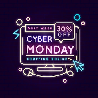 Neon cyber monday illustration