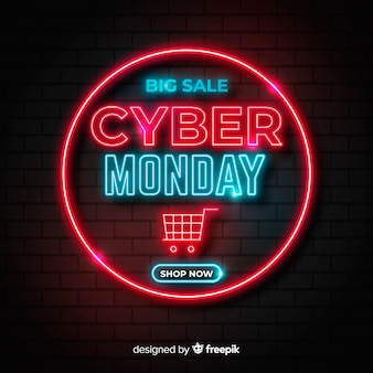 Neon cyber monday and shopping cart