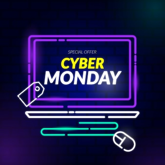 Neon cyber monday special offer banner
