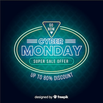 Neon cyber monday super sale banner