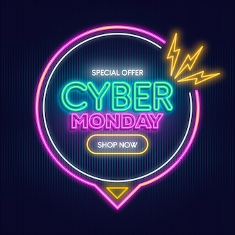Neon cyber monday text Free Vector