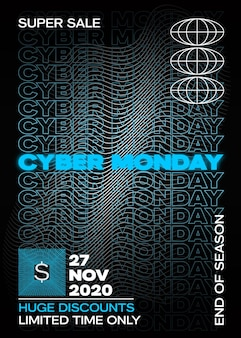 Neon cyber monday typography banner poster or flayer template
