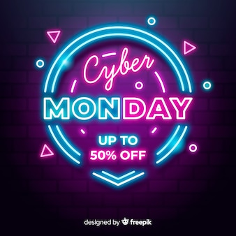 Neon cyber monday with geometric shapes