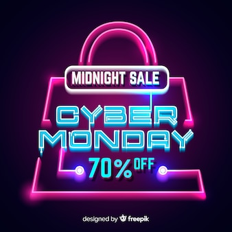 Neon cyber monday with a shopping bag