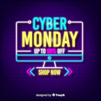 Neon cyber monday с абстрактной формой рабочего стола