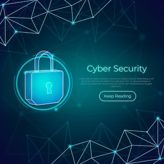 Neon cyber security concept with padlock