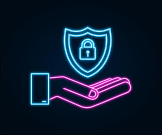 Неоновый векторный логотип кибербезопасности с щитом и галочкой руки, держащие знак кибербезопасности