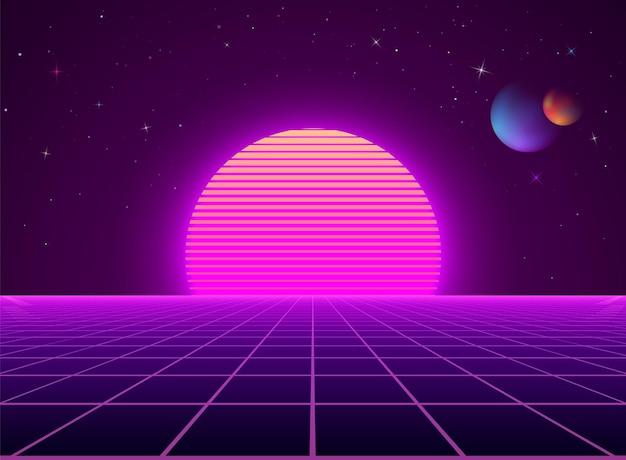 Неоновый киберпанк футуристический пейзаж