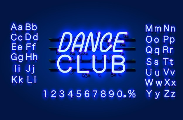 Неоновый танцевальный клуб текстовый баннер