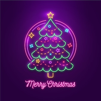 ネオンで飾られたクリスマスツリー