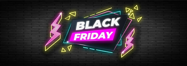 Neon design black friday banner template