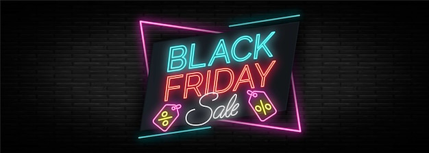 Neon design black friday banner template