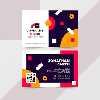 Neon design business cards collection