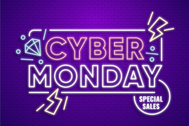 Neon design cyber monday