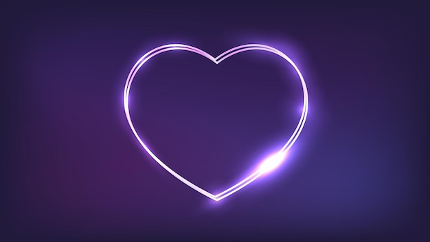 Neon double frame in heart form with shining effects on dark background. empty glowing techno backdrop. vector illustration.