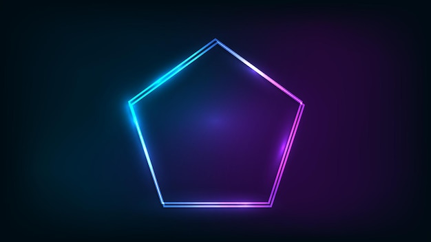 Neon double frame in pentagon form with shining effects on dark background. empty glowing techno backdrop. vector illustration.