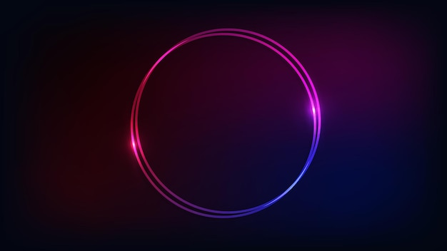 Neon double round frame with shining effects on dark background. empty glowing techno backdrop. vector illustration.