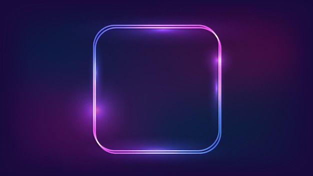 Neon double rounded square frame with shining effects on dark background. empty glowing techno backdrop. vector illustration.