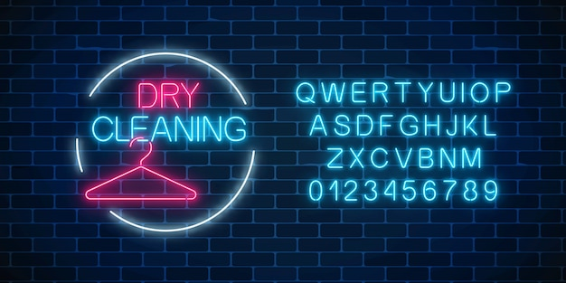 Neon dry cleaning glowing sign with hanger in circle frame with alphabet.