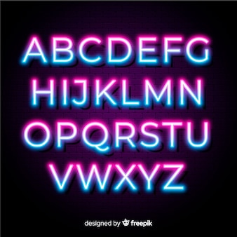Neon duotone alphabet template