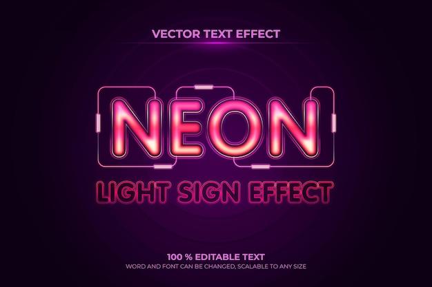 紫の背景スタイルのネオン編集可能な3dテキスト効果