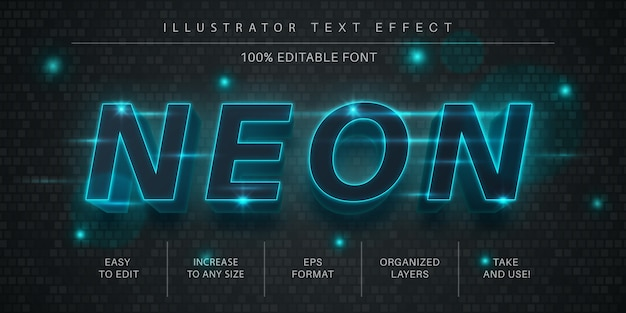 Неоновый редактируемый текстовый эффект, стиль шрифта