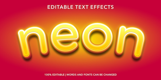 Neon editable text effect