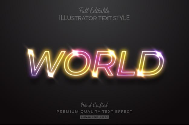 Эффект стиля неонового редактируемого текста премиум