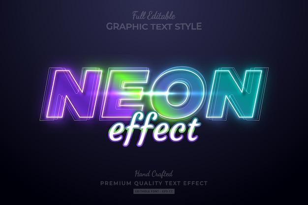 Neon effect gradient editable premium text effect font style