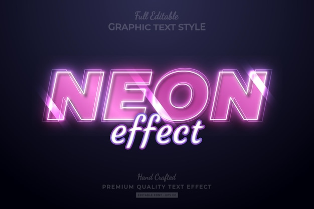 Neon effect pink editable premium text effect font style