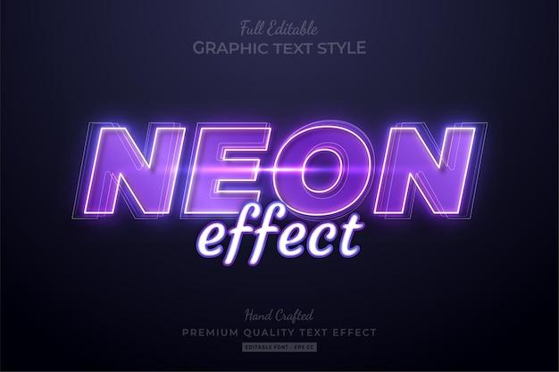 Neon effect purple editable premium text effect font style