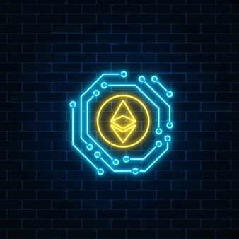 Neon ethereum currency sign with electronic circuit. cryptocurrency emblem on dark brick wall background. Premium Vector