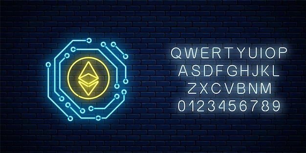Neon ethereum currency sign with electronic circuit. cryptocurrency emblem with alphabet on dark brick wall background. vector illustration.