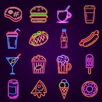 ネオンファーストフード。ハンバーガー、ポップコーン、ホットドッグ、コーヒー、ピザとカフェやバーの道路標識の光るアイコン。カクテルとビールクラブのベクトルセット。ストリートディッシュのメニュー、熱烈な広告
