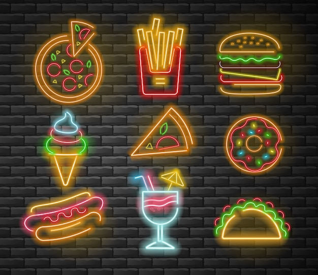 Neon fast food set, big set, pizza, french fries, burger, ice cream, donut, hot dog, cocktail and taco, neon light, brick background