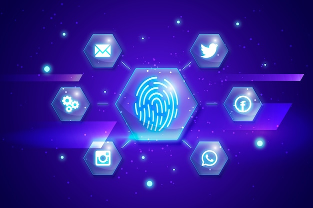 Neon fingerprint background