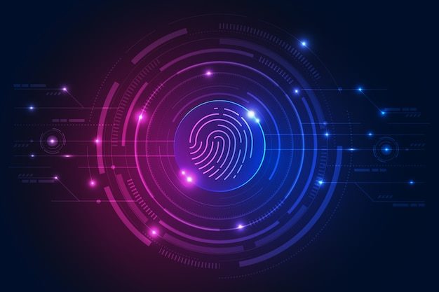 Neon fingerprint modern background