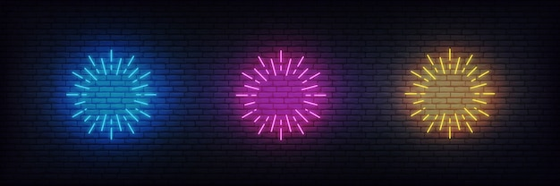 Neon firework burst. set of glowing neon firework signs