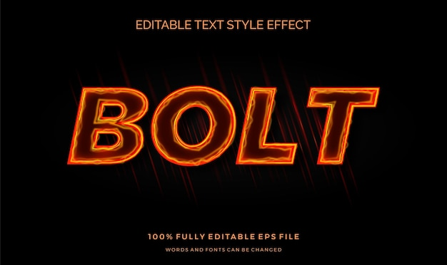 Neon flame text style effect. editable font