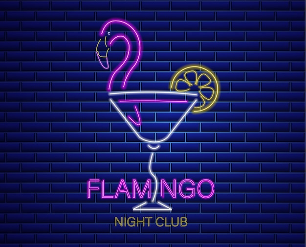 Neon flamingo cocktail sign